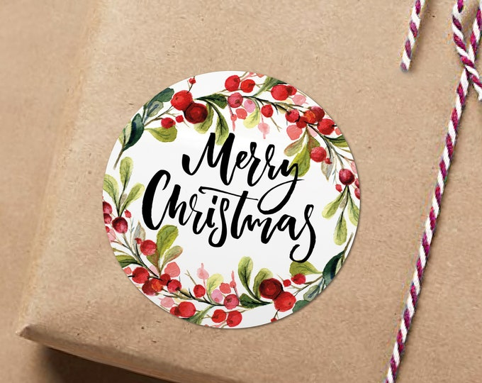 Custom Christmas Circle Gift Tags Stickers, Present Tags Wrapping Ideas Merry Christmas Gift Stickers, Sticker Shop, Xmas custom Stickers