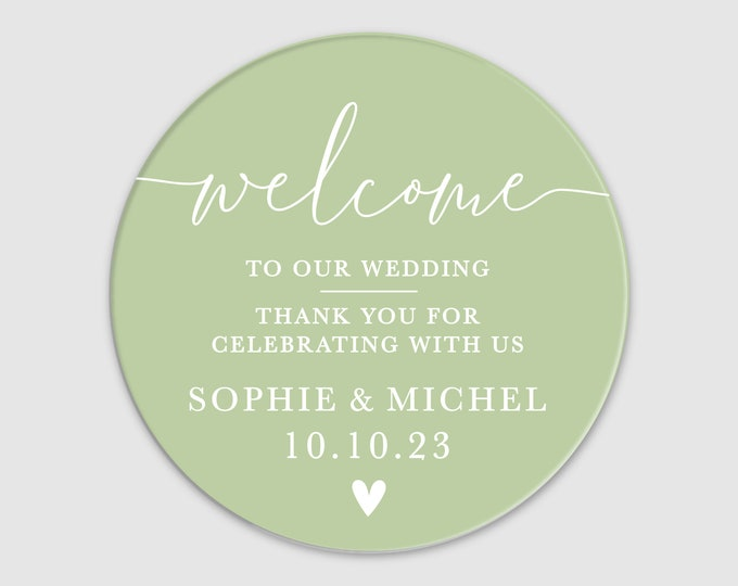 Wedding welcome bag custom name labels stickers sheet, Personalized sticker labels, Transparent round stickers