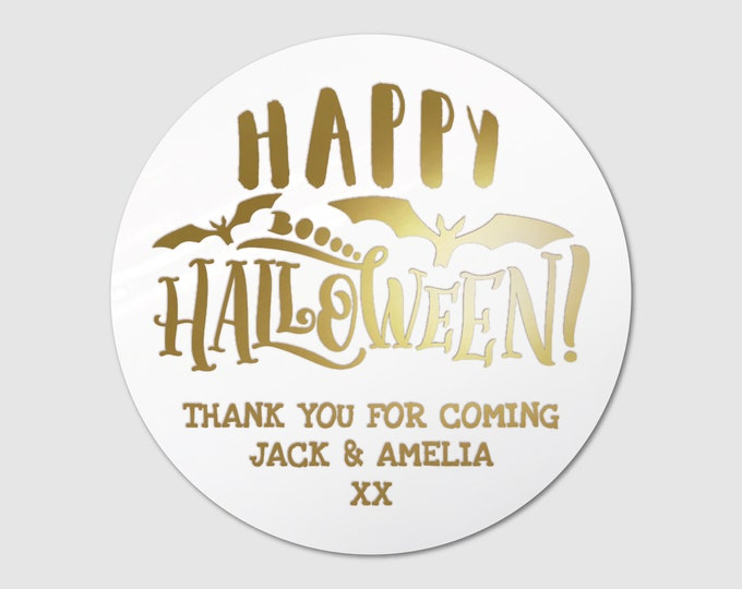Personalised happy halloween  party bag stickers, Custom happy birthday sticker, Kid party favor stickers, Round gift sticker