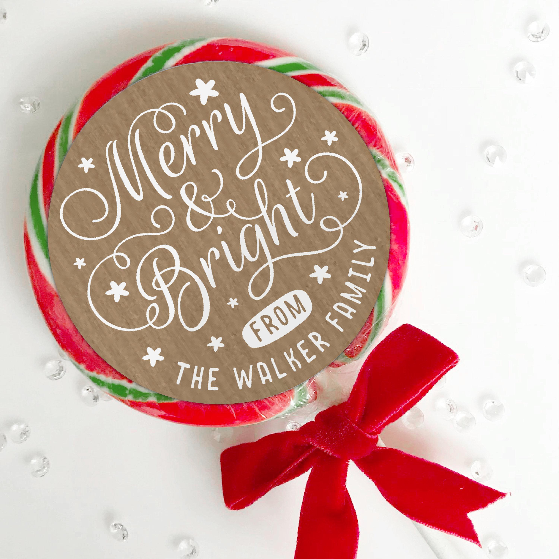 Kraft Christmas stickers, Merry Christmas Label, Christmas Stickers ...