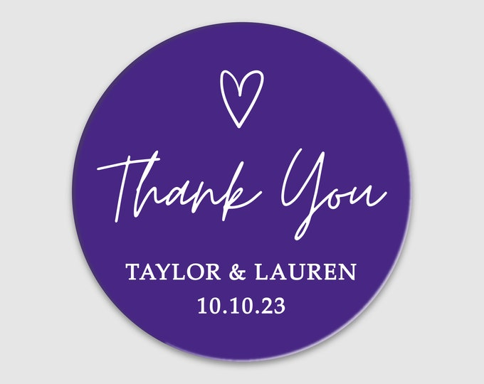 Thank you wedding birthday baby shower round stickers sheet, Personalized party favor stickers, Graduation thank you labels