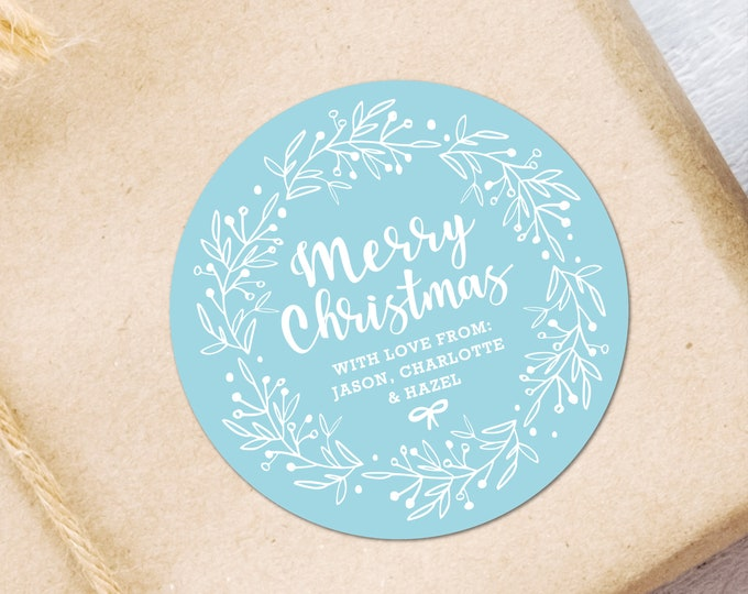 Custom christmas gift wrap tags stickers labels, Christmas gift wrap stickers, Custom stickers labels, Round labels for gift wrapping