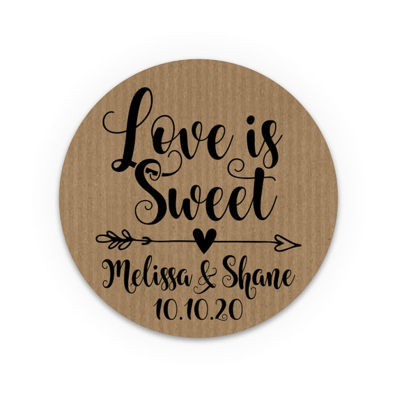 Love is sweet sticker labels, Wedding stickers for mason jars, Wedding stickers for favours, Honey jar labels, Wedding favor tags rustic