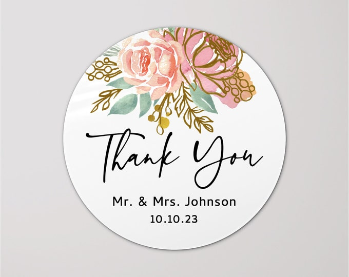 Personalized custom sticker labels thank you stickers, Round welcome name stickers, Gloss stickers, Wedding favor