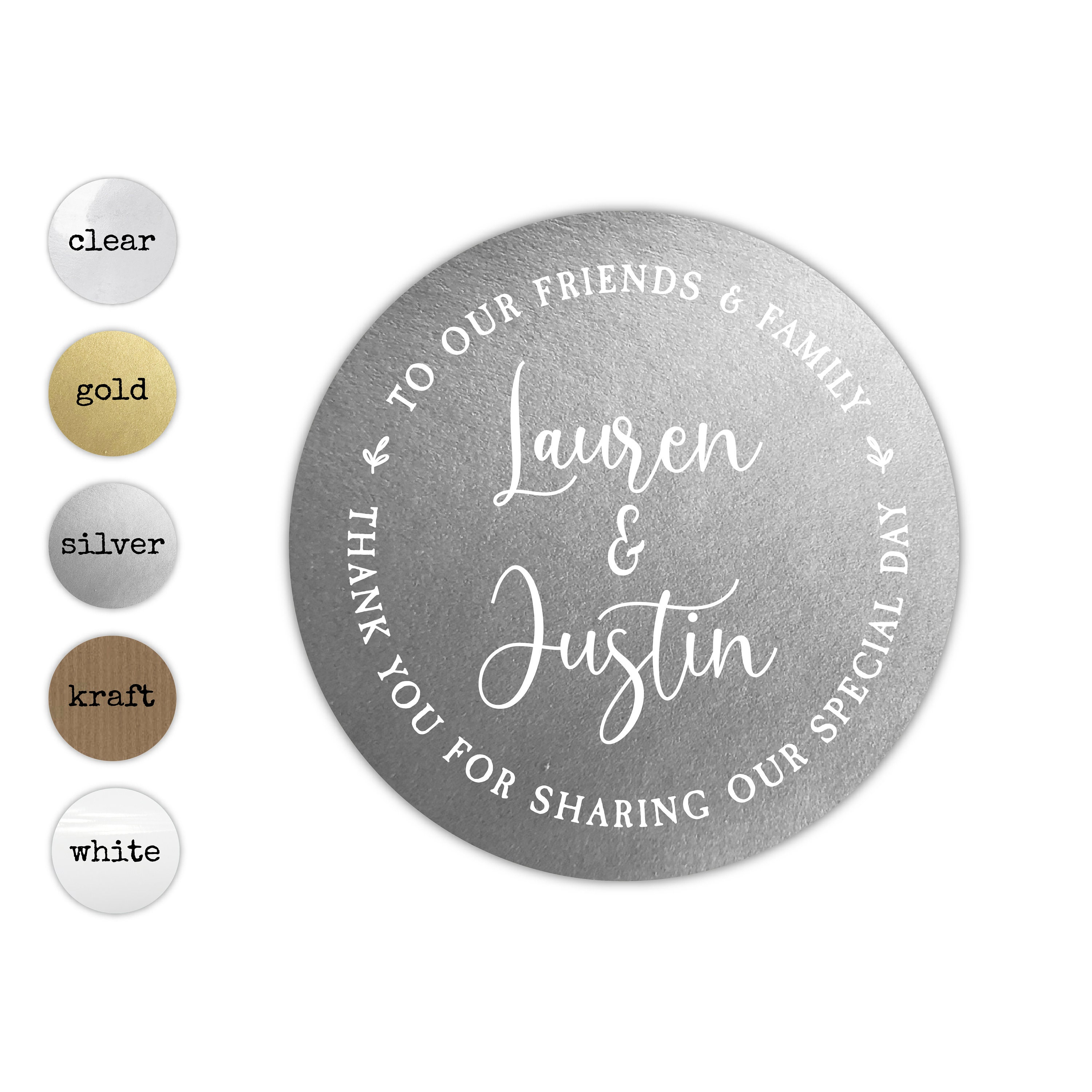 40mm A4 sheet of 24 Personalised WEDDING Stickers Labels Seals Party Bags Cones