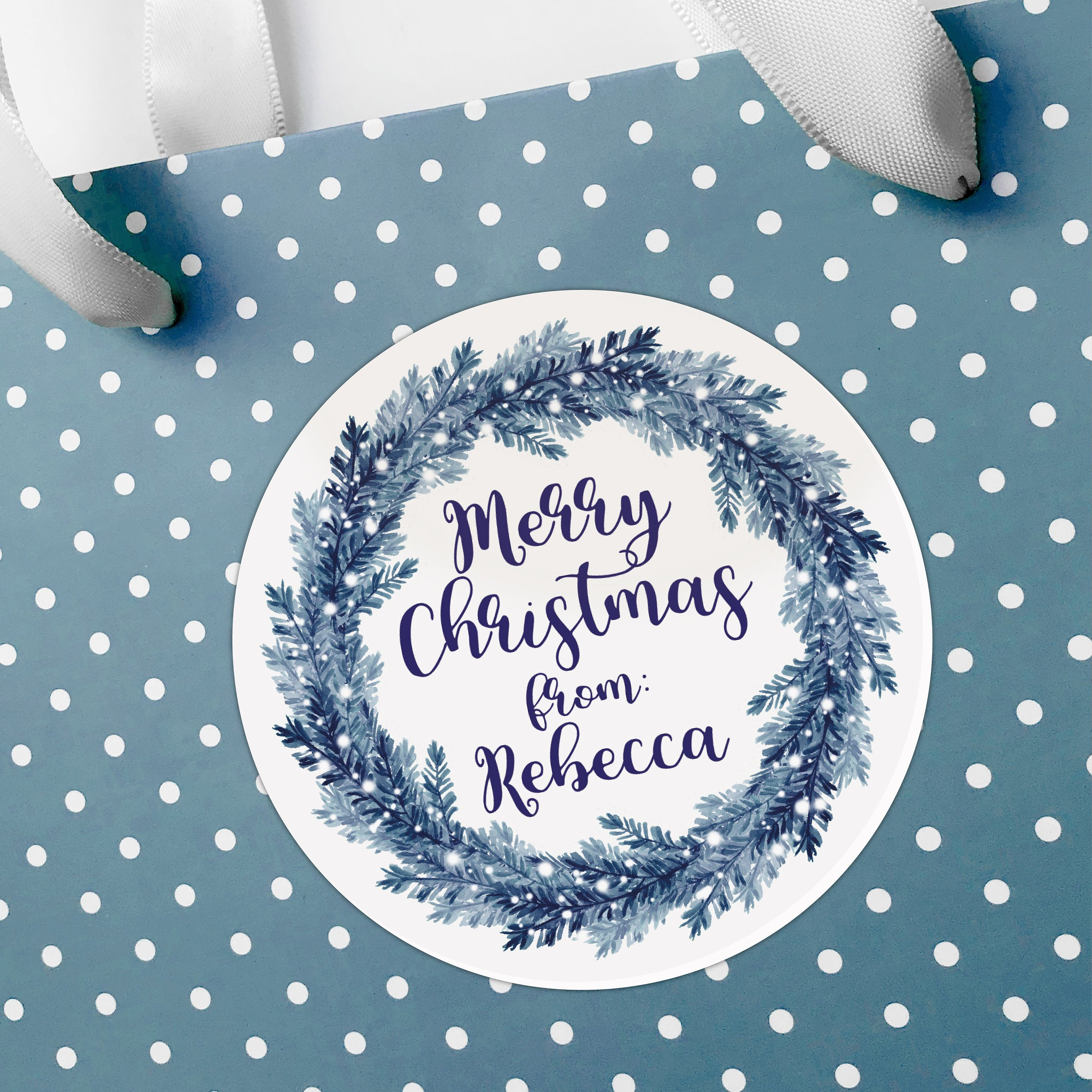 Personalised gift tags, Merry Christmas stickers, Personalized ...