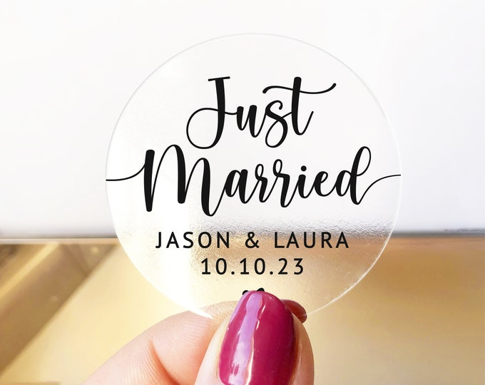 Just married wedding party favors clear gold foil stickers, Custom thank you favor stickers, Wedding favor labels