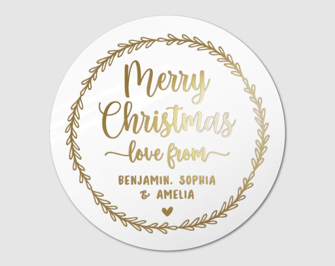 Custom Christmas wreath gift tags circle name labels stickers, Christmas wrapping stickers, Personalized stickers christmas, Gift wrapping