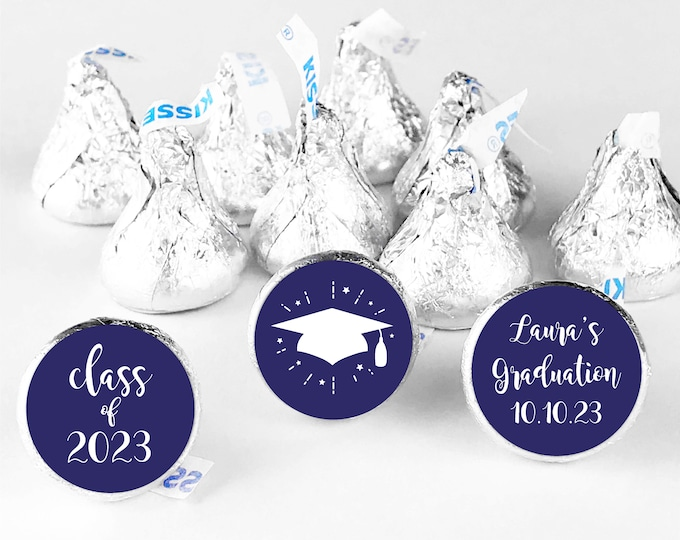 Graduation party hershey kiss labels circle candy stickers, Custom stickers for hershey kisses, Chocolate thank you stickers