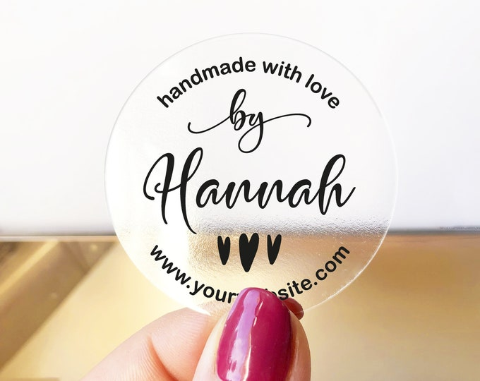 Custom handmade with love business labels stickers, Personalised sticker, Round clear stickers, Custom name stickers