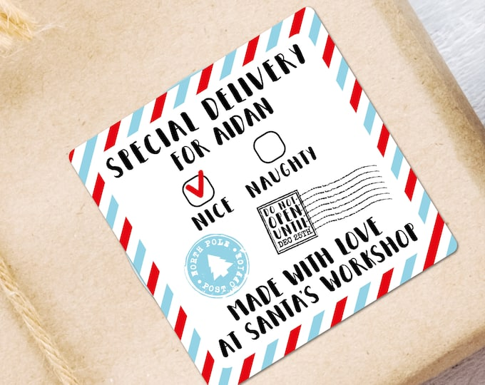 Special delivery Christmas custom name labels stickers sheet pack, Santa special delivery, North pole post office, From santa sticker