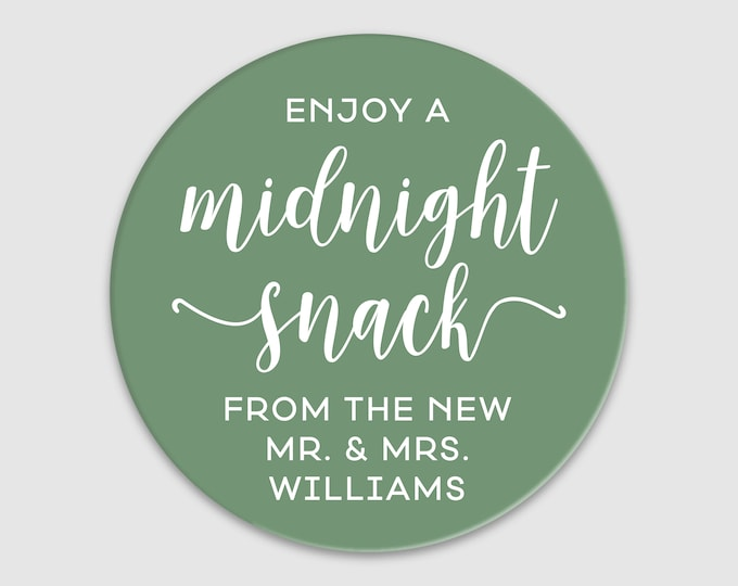 Custom wedding party favors thank you stickers labels, Midnight snack stickers, Personalized sticker, Party favor stickers