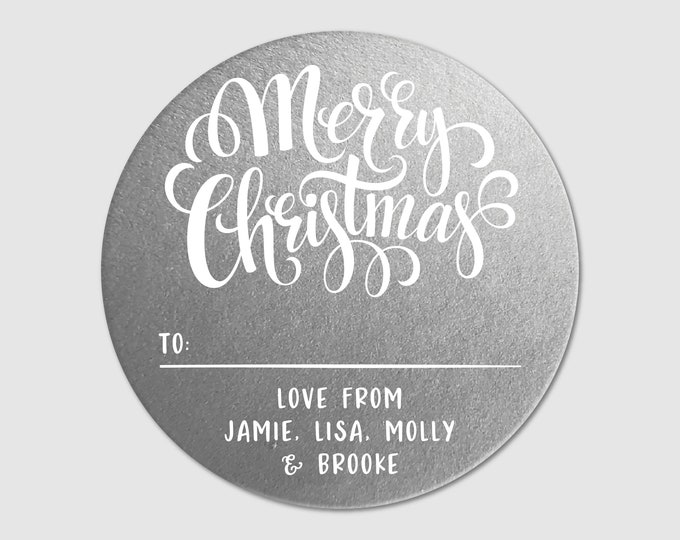 Custom Christmas Circle Stickers Gift Tags Personalized Stickers Name Round Labels Merry Christmas Present Tags, Merry Christmas from labels