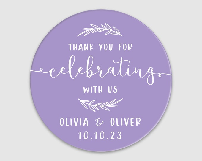 Custom name wedding thank you clear round stickers, Personalized custom sticker, Welcome bag stickers, Graduation birthday stickers