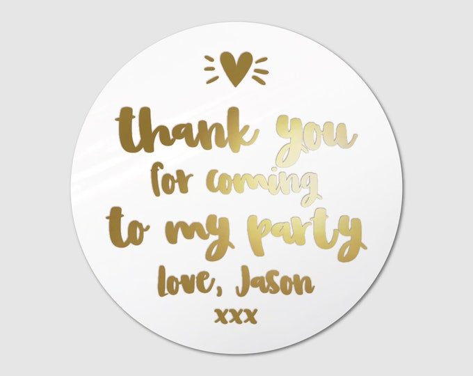 Personalised thank you stickers party bag sticker custom happy birthday sticker, Kid party favor stickers, Round gift sticker
