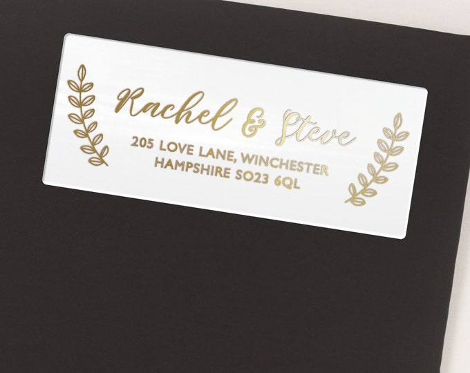 Personalized wedding gift return address clear labels stickers, Personalised gift, Address stickers - 30 Stickers per Sheet