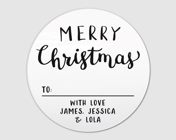 Merry Christmas custom name clear labels stickers sheet, Personalized Sticker Labels, Custom gift tags, Christmas wrapping accessories