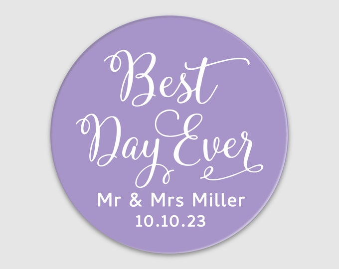 Custom wedding favors thank you labels stickers, Best days ever wedding stickers, Personalized wedding welcome bag stickers