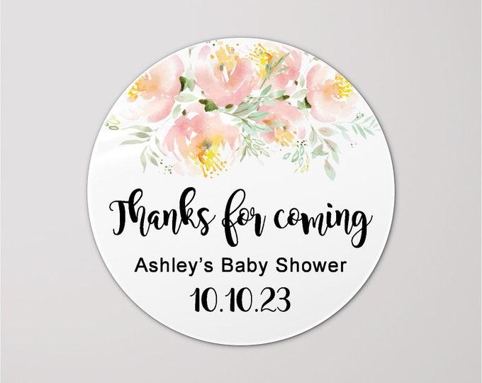 Baby boy shower custom gift bag thank you stickers, Baby shower favors, Thank you stickers, Round sticker sheet, Baby shower decor