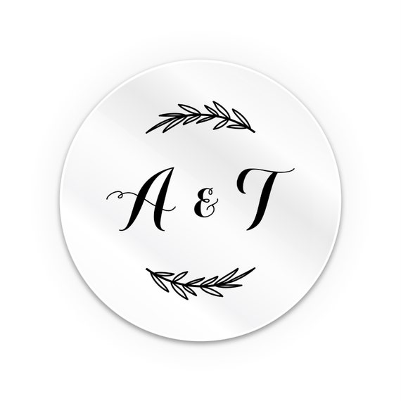 Transparent labels for wedding gift bags, Clear stickers wedding invites, Personalised party favours, Envelope seal with monogram initials