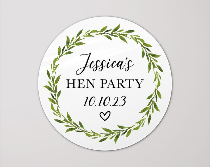 Rose Gold personalised hen party sticker labels, Hen do accessories, Hen do stickers for bags, Hen party stickers round stickers