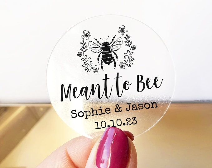 Custom wedding favors meant to bee stickers labels sheet, Custom honey labels, Bee sticker labels for jars