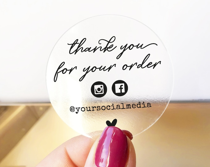 Custom Thank You For Your Order Stickers, Personalized Square Business Labels, Thanks Packaging Sticker Label, Round Envelope Seals