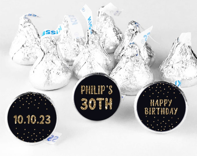 Custom thank you happy birthday stickers labels, Hershey kisses sticker, Hershey kiss birthday stickers, Custom stickers by Blooms
