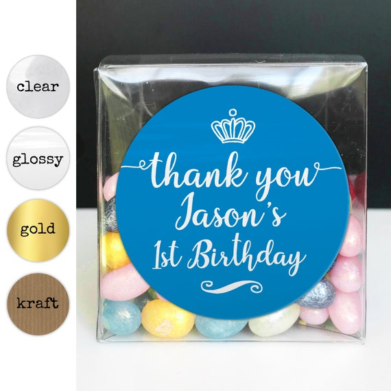 Personalised happy birthday stickers, Happy birthday labels stickers, Thank you stickers for birthday, Custom round sticker for kids