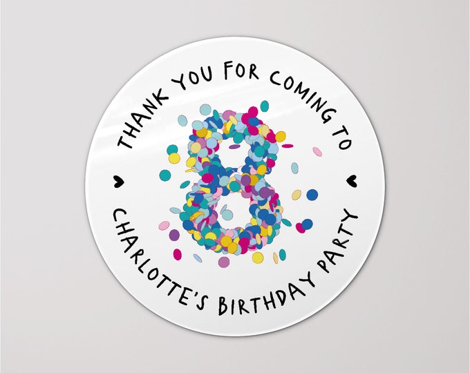 Personalised stickers confetti labels birthday party happy birthday stickers, Favor bag stickers, Custom stickers sheet