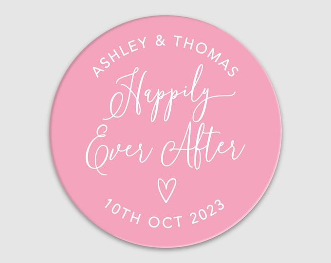 Custom wedding Happily Ever After favors thank you stickers, Wedding Envelope Seals, Wedding Thank You labels, Engagement Party Stickers
