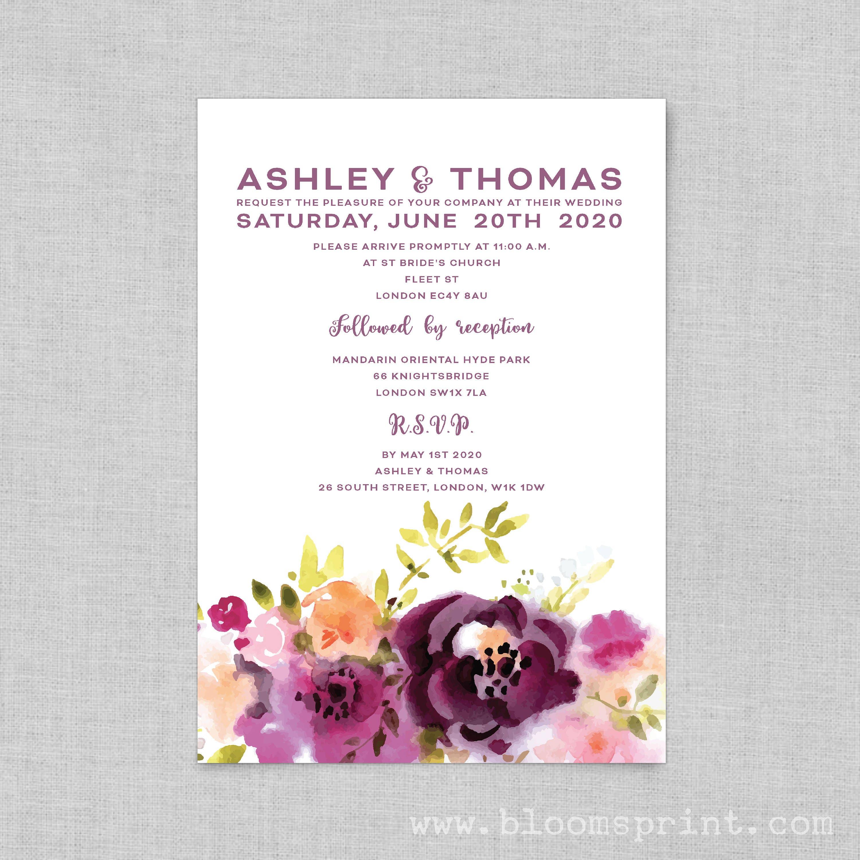 Wedding Invitation, Purple floral wedding invitation template, Boho ...