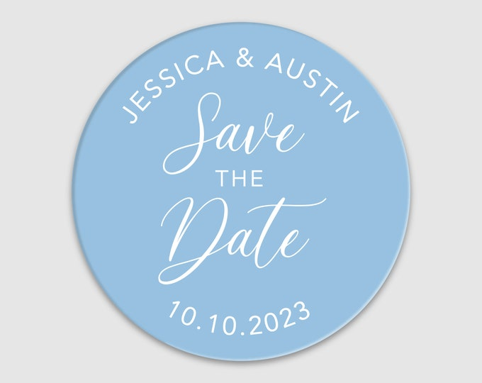 Custom wedding save the dates name round labels stickers, Personalized wedding announcement sticker, Printed stickers