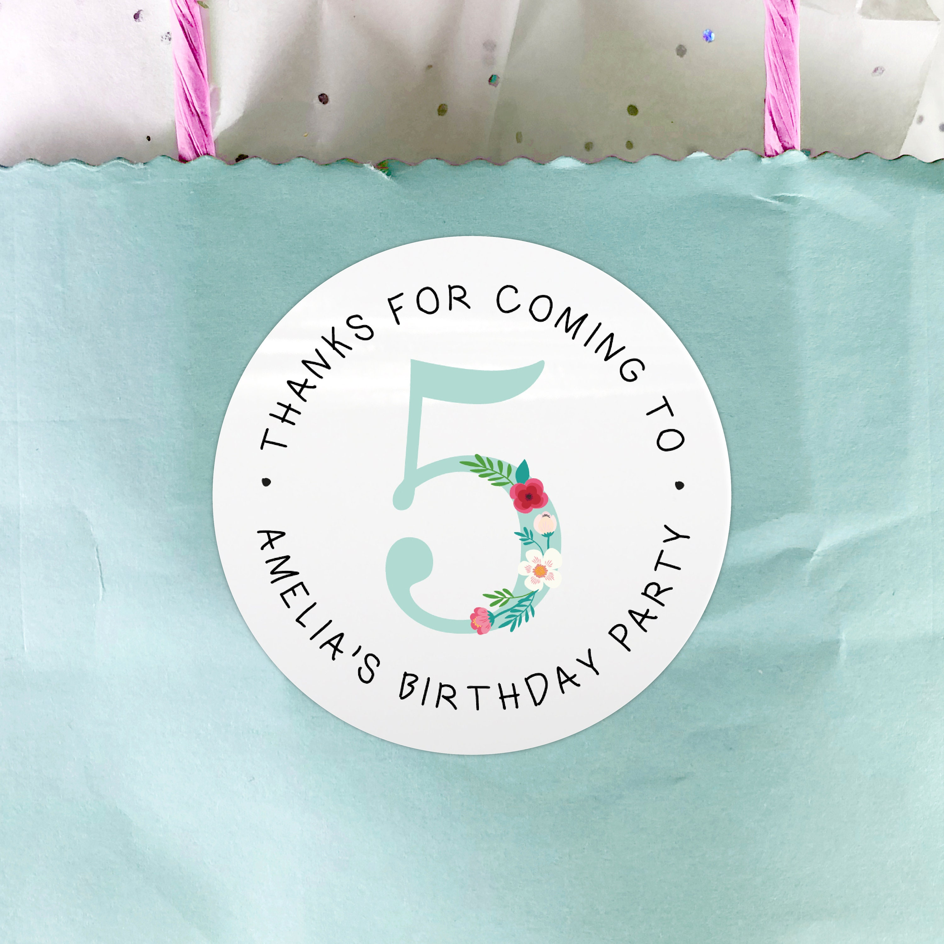 Personalised Dinosaur Birthday Party bag Thank You 40mm Round Stickers 24