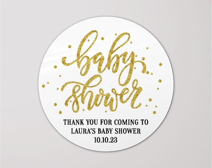 Thank you for coming to my baby shower gift gold stickers, Personalized baby shower round stickers, Handmade stickers
