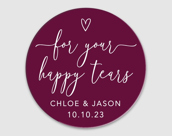 Personalized wedding favors custom round clear labels stickers, For happy tears tissues clear stickers, Personalized sticker