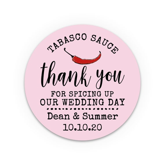Personalised gift, Personalized wedding stickers, Thank you gift, Labels for handmade items, Tabasco sauce labels, Bridal shower favor