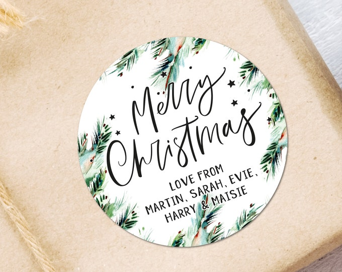 Merry Christmas Name Tags Stickers Custom Gift Tags Personalised Christmas Stickers Gift Wrapping Ideas Christmas Decorations Favors