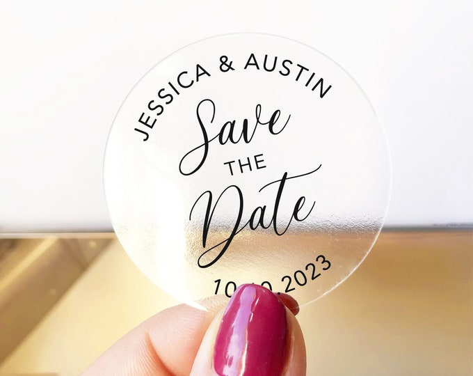 Custom wedding save the dates name round labels stickers, Personalized wedding announcement sticker, Gold foil stickers