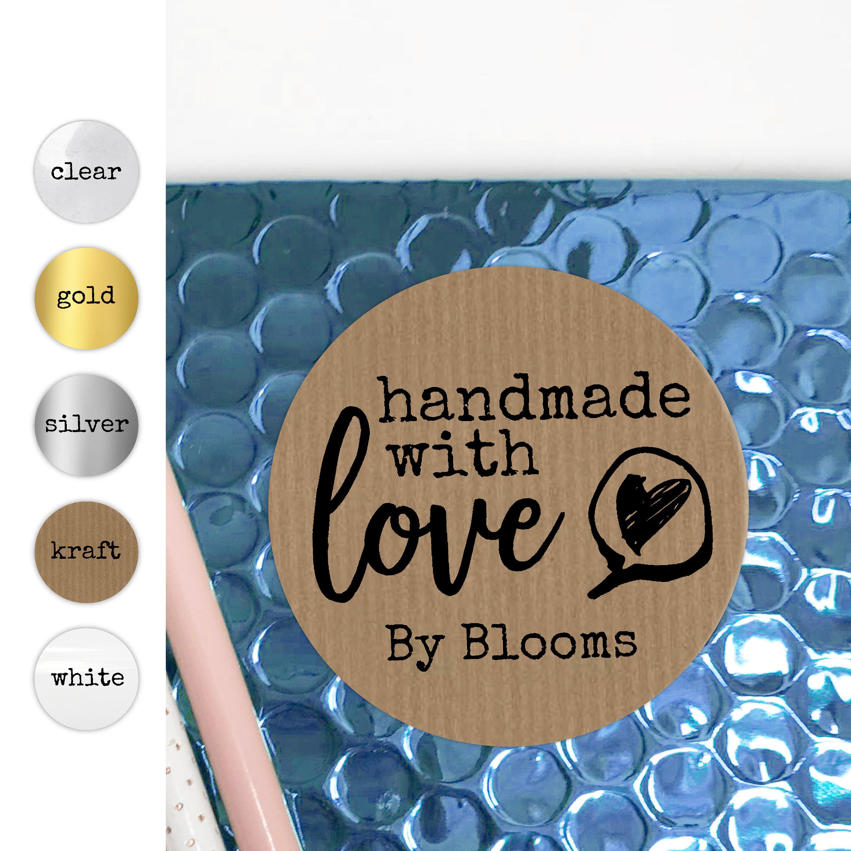 Handmade with love stickers sheet custom sticker labels personalised sticker made with love stickers round kraft paper stickers