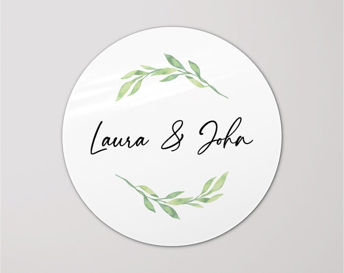 Custom wedding thank you favors round stickers labels, Personalized sticker for wedding invitation, Circle initial stickers