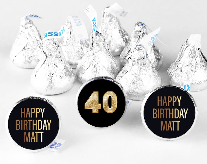 Custom thank you 30th 40th 50th happy birthday stickers labels, Hershey kisses sticker, Party bag stickers, Birthday party favour