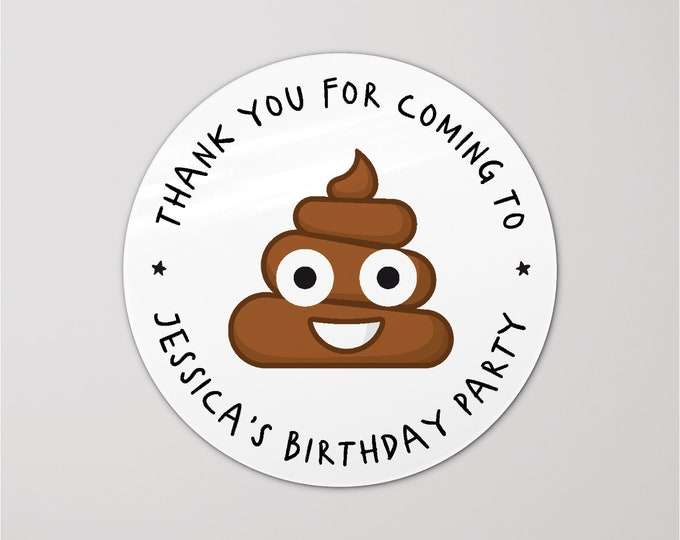 Gift bag round thank you birthday party stickers, Custom happy birthday sticker, Party favor stickers thank you for coming