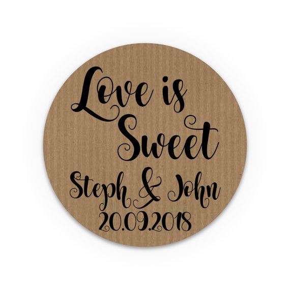 Love is sweet sticker labels, Wedding stickers for mason jars, Wedding stickers for favours, Honey jar labels, Wedding favor tags rustic
