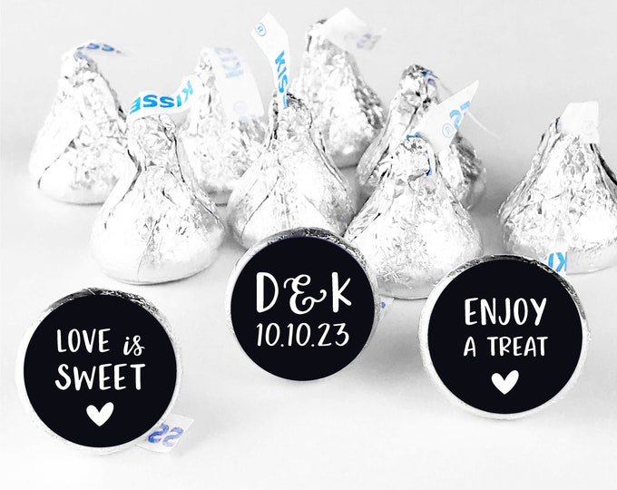 Love is sweet thank you wedding favor label round stickers,  Wedding stickers for favors, Hershey kiss labels, Wedding Hershey Kisses