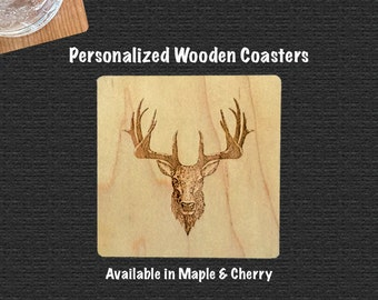 Wooden Coaster With Whitetail Deer | Set of 4 | Includes Bump Ons |