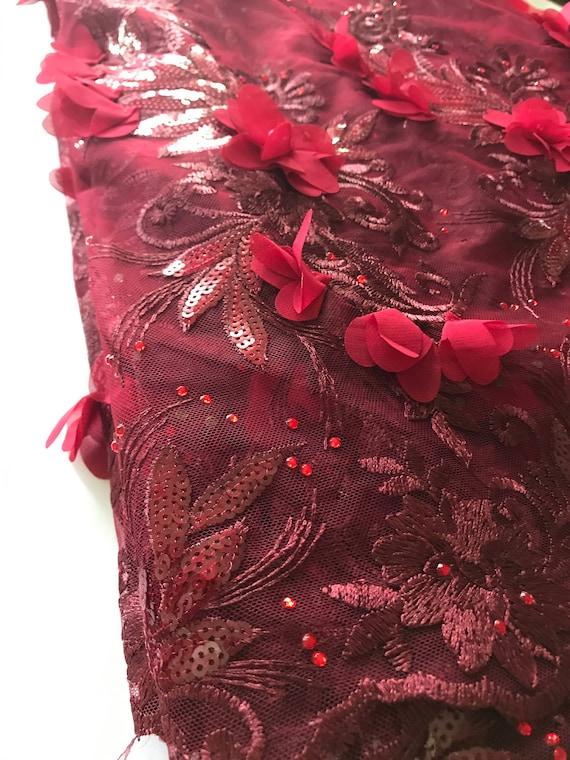 Tulle dentelle avec fleur 3D des et perles appliques et des 3D paillettes pour mariage nigérian et africain 450c73