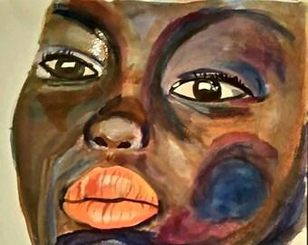 Colorful Expressive Watercolor Woman Portrait, expressive portrait painting,  painting,  portrait,  African women portrait painting