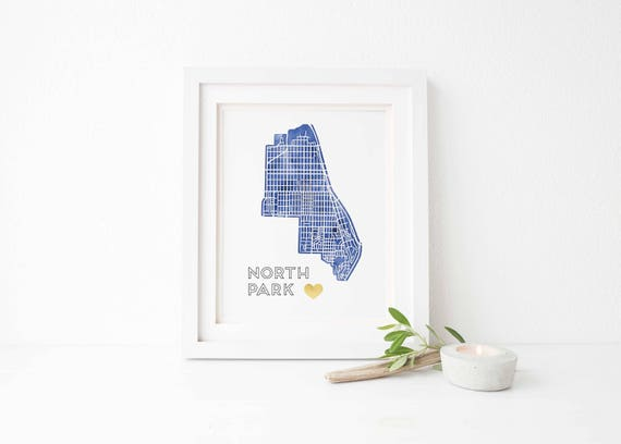 North Park Watercolor Gold Foil Street Map Art Print North Etsy