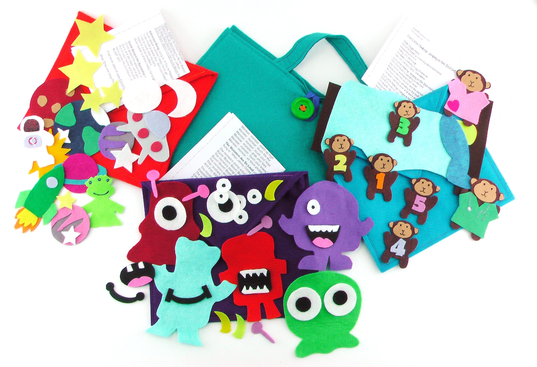 Best Seller Travel Bundle Felt Board Set for Kids, Includes 1 Travel Mat, 3  Envelopes, Monster Set, Space Set, and Five Little Monkeys Set